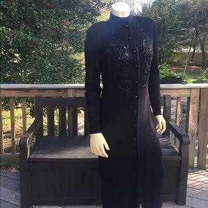 Liz Claiborne Maxi beaded Black dress